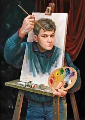 Auto-portrait d'Oleg Shuplak, peintre en Ukraine.  JPEG - 37.1ko
